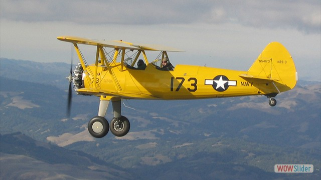 Stearman N54173 and Andreas Hotea cruising over California-1