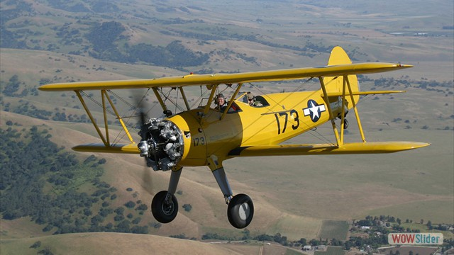 Stearman N54173 and Andreas Hotea cruising over California-7