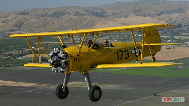 Stearman N54173 and Andreas Hotea cruising over California-8