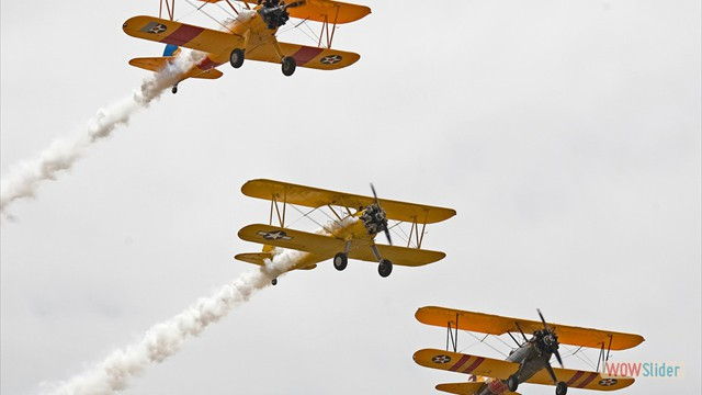 Stearman N54173 and Andreas Hotea flying in Formation-3