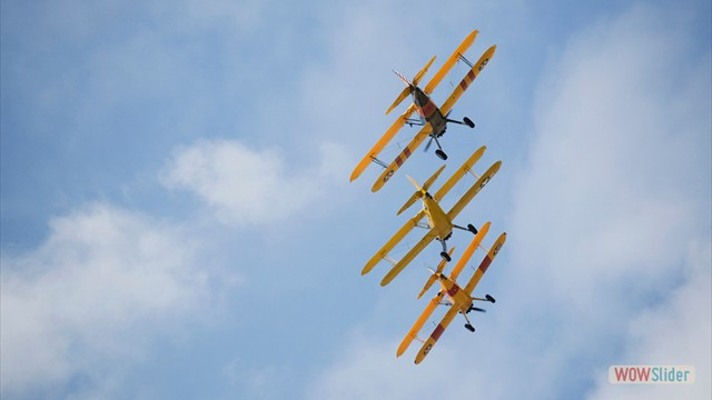 Stearman N54173 and Andreas Hotea flying in Formation-5