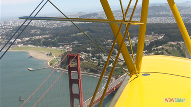 Stearman N54173 and Andreas Hotea flying over Golden Gate Bridge-AH
